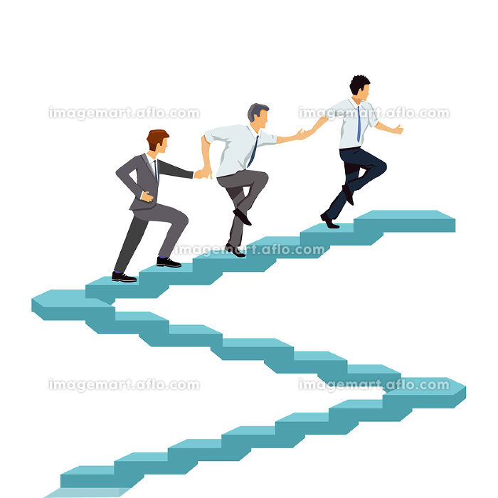 successfully climb up together,teamwork illustration