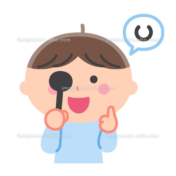 健康診断/視力検査をする男の子/輪郭線なしの販売画像