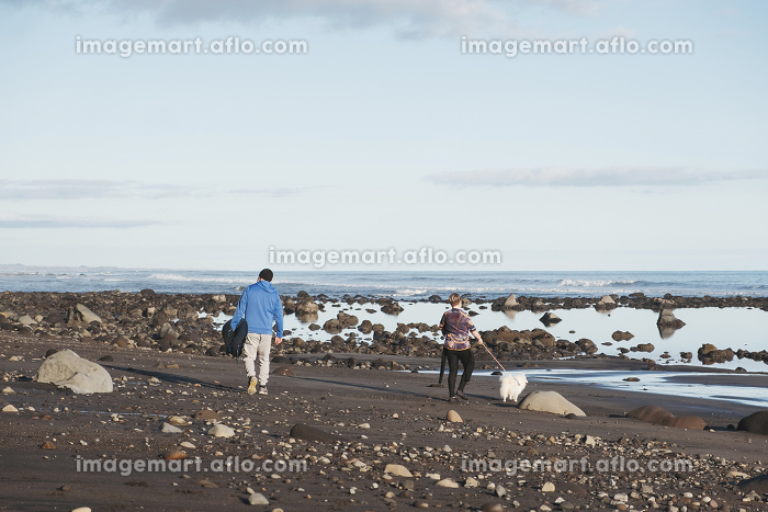 Father and son walking down a rocky beach with a dogの販売画像