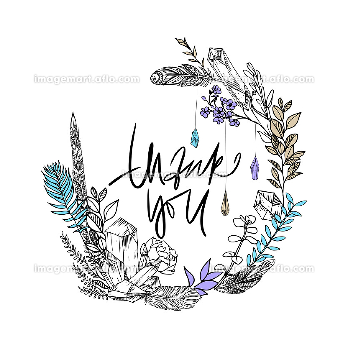 Elegant Thank you card. Thankee Hand drawn boho sketch. Gems, flowers and feathers. Vector illustration. Phrase. Quote. Sketch wreath.