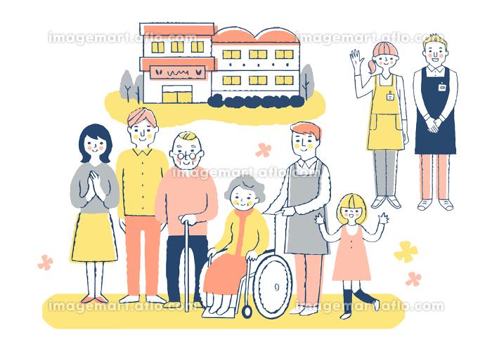 介護施設 車椅子のおばあちゃんと家族と介護スタッフの販売画像