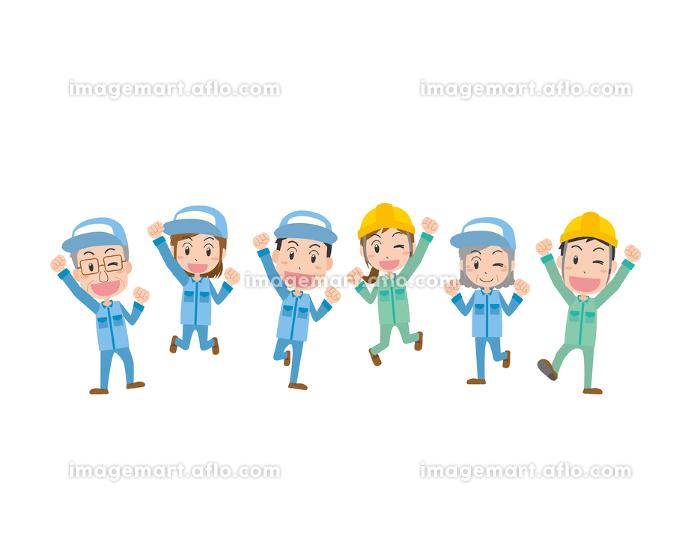 ジャンプする男女の作業員の販売画像