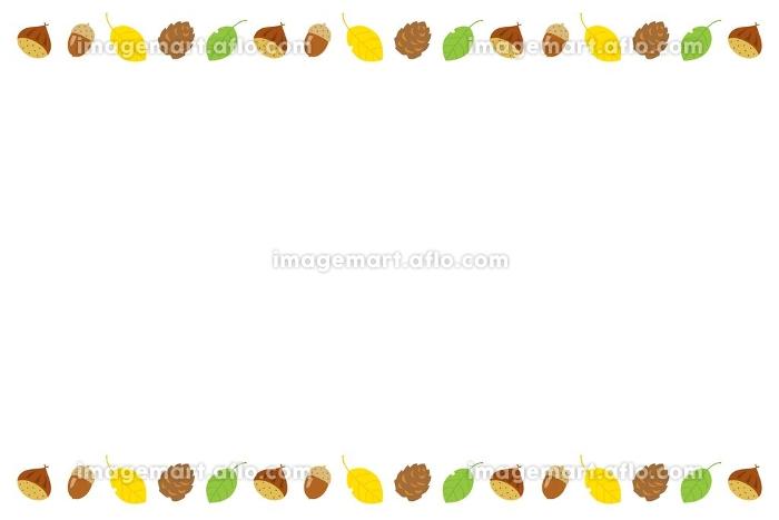 実りの秋の栗と松ぼっくりとドングリと落葉のフレームの販売画像