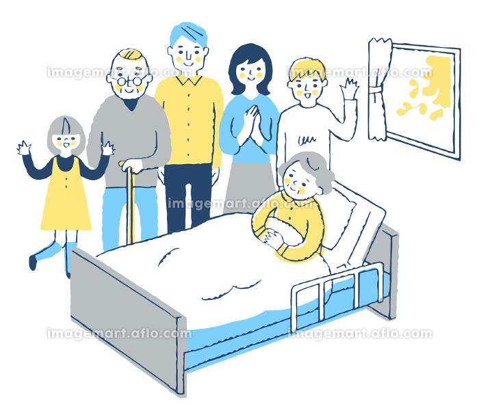 ベッドにいるおばあちゃんと家族の販売画像