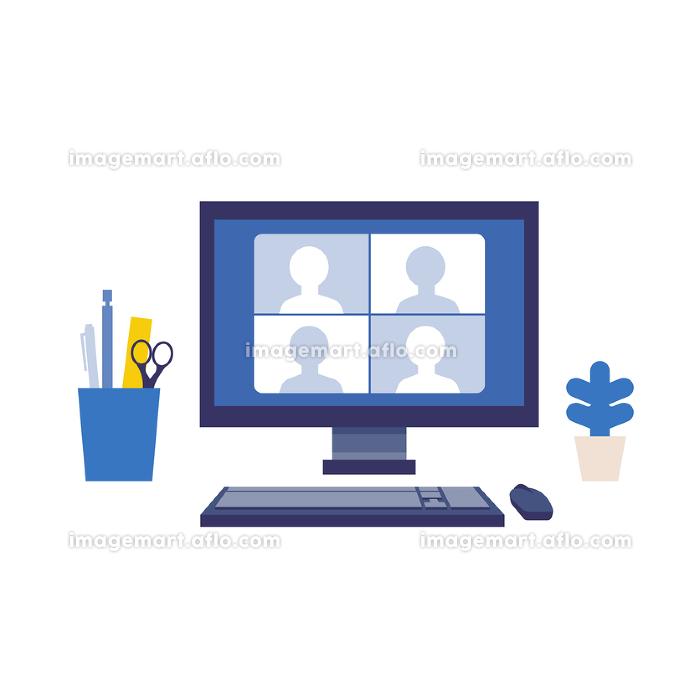 テレワーク、テレビ会議をするパソコンモニターのイラストの販売画像