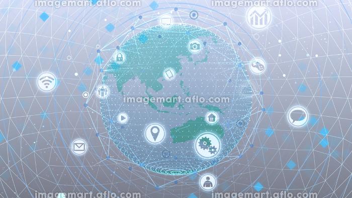 テクノロジー アイコン ネットワーク ワールド インターネット 地球 デジタル 3D イラストの販売画像