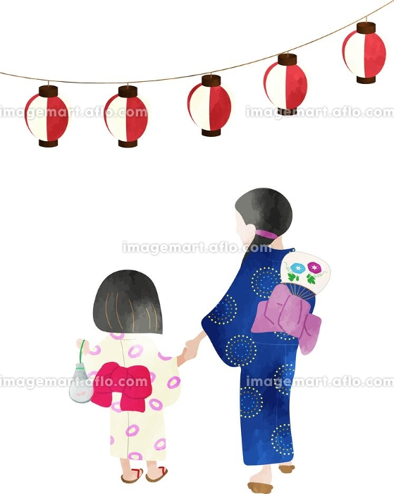 浴衣姿で夏祭りに行く母子 水彩風のイラストの販売画像