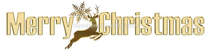 金色のメタリックのレリーフ状のゴシック体のメリークリスマスのロゴ トナカイのイラストの販売画像