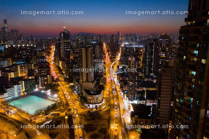 Kowloon city, Hong Kong 29 January 2019- Hong Kong city at night
