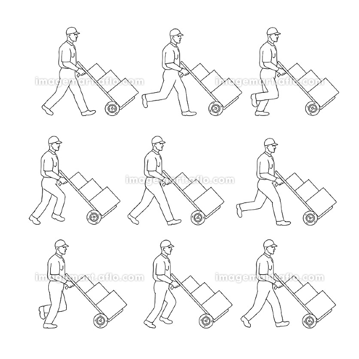 Delivery Worker Pushing Hand Cart Walk Sequence Drawingの販売画像