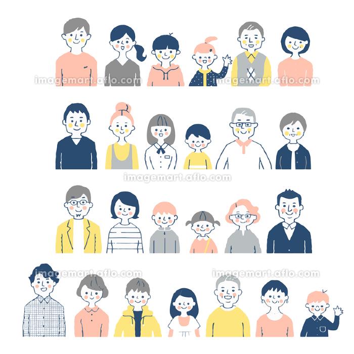 4組の三世代家族 バストアップ セットの販売画像