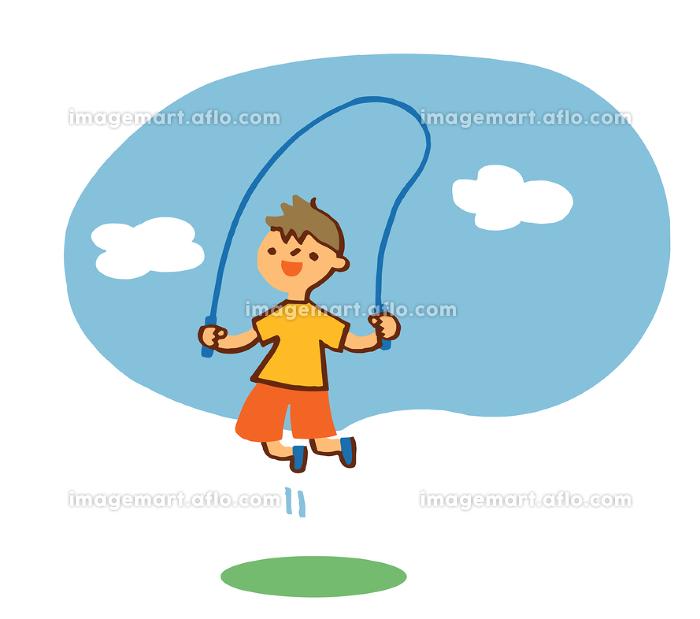 縄跳びをする男の子の販売画像