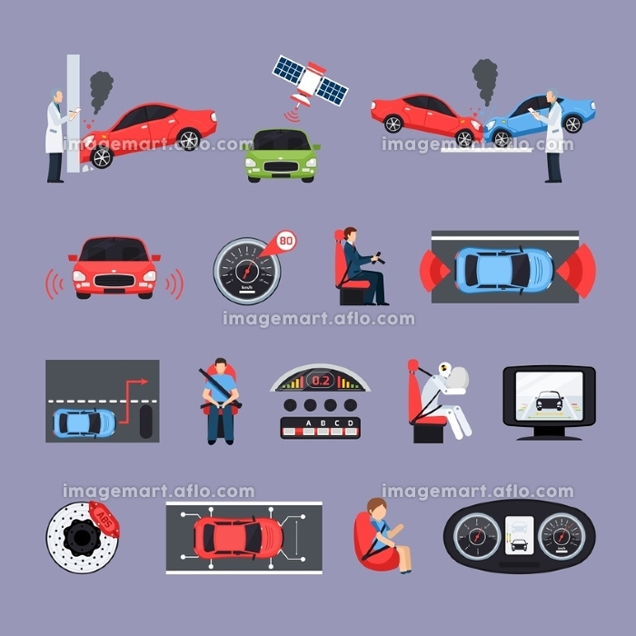Car Safety Systems Icons Set. Car safety systems icons set with crash test symbols flat isolated vector illustration