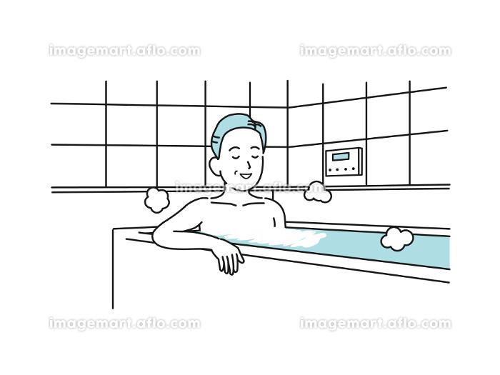 入浴する中高年の男性 お風呂 ミドル イラスト素材の販売画像