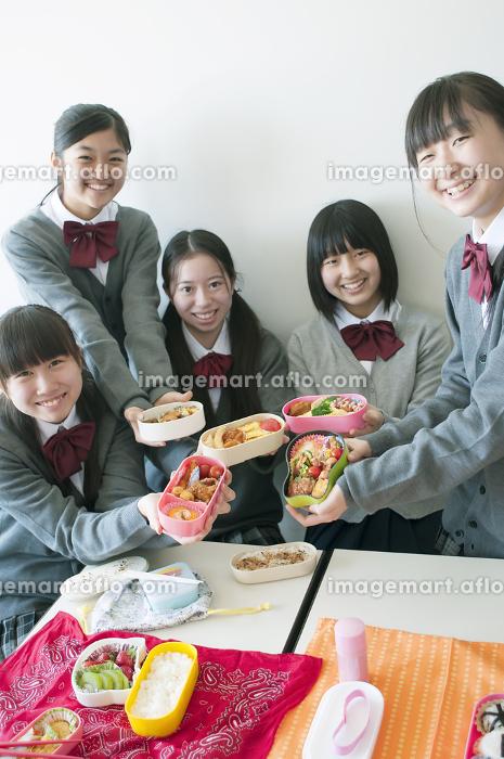 お弁当を持ち微笑む中学生の販売画像
