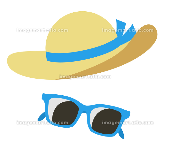 麦わら帽子とサングラス 日焼け防止アイコンセットの販売画像