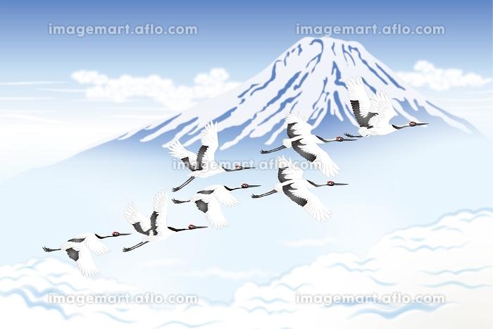 富士山と鶴の群れ イラスト