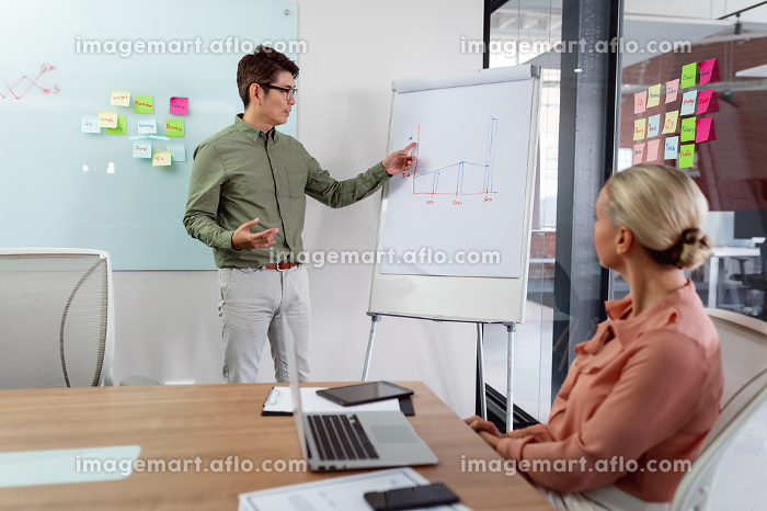 Diverse male and female colleague having meeting, man talking and woman sitting at table with laptop. working in business at a modern office.の販売画像