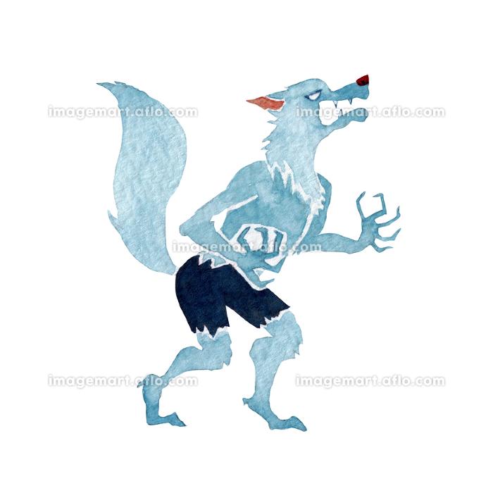 オオカミ男 ハロウィン ハロウィーン モンスター 水彩 イラストの販売画像