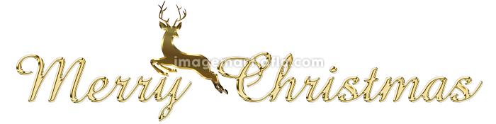 金色のメタリックのレリーフ状の筆記体のメリークリスマスのロゴ、トナカイのイラストの販売画像