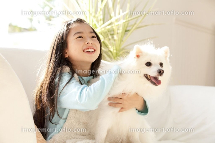 スピッツを抱き寄せる笑顔の女の子