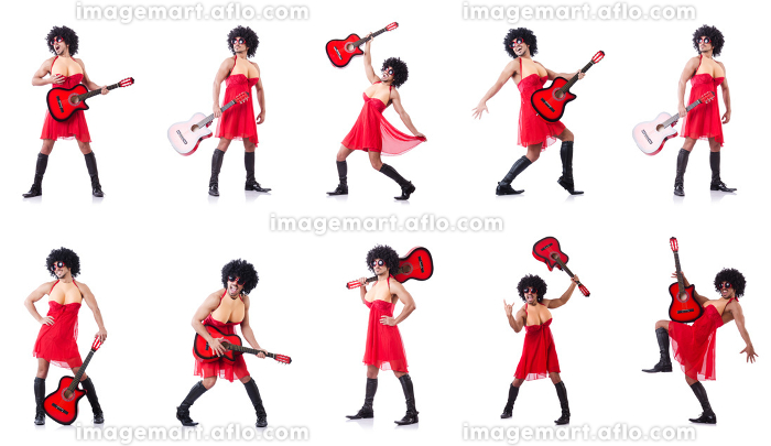 Man in woman clothing with guitarの販売画像