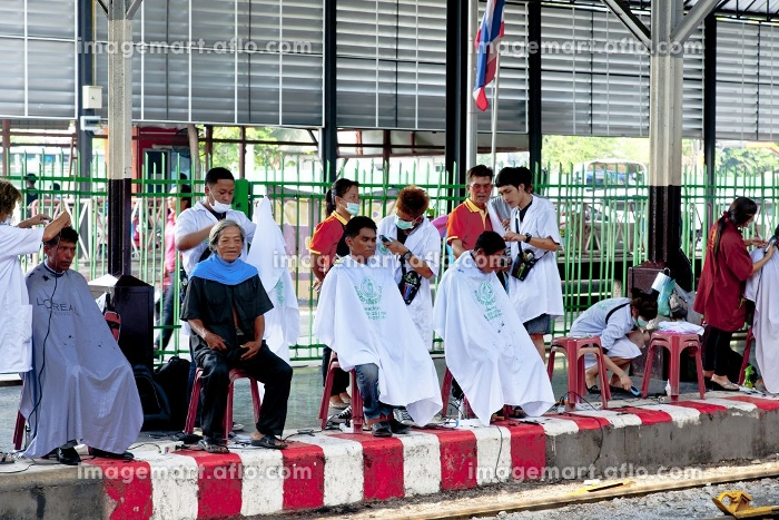 バンコク駅ホームの理髪店の販売画像