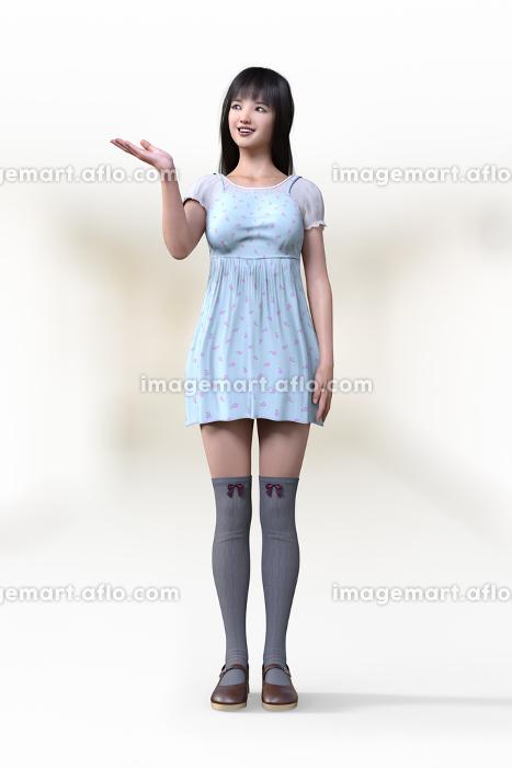 フェミニンなワンピースを着た女子が手のひらを上に翻しその方向に目線を向けて案内しているようなポーズ
