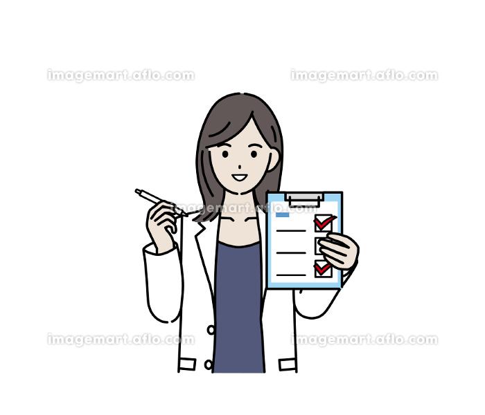 医者 女医 薬剤師 カウンセラー 白衣を着た女性 健康チェック 記入 イラスト素材の販売画像