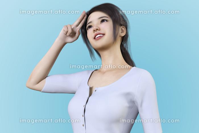 黒髪の日本人女性が髪の毛をポニーテールにして空を見上げながら指を二本立てておでこにあてているの販売画像