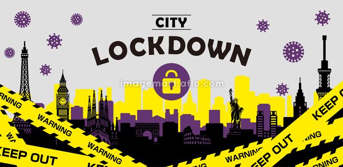 都市ロックダウン・都市封鎖(新型コロナウイルス・Covid19) バナーイラストの販売画像