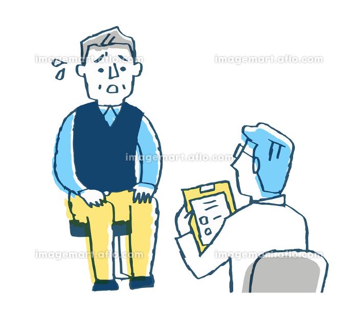 診察 医者と不安そうな男性患者の販売画像