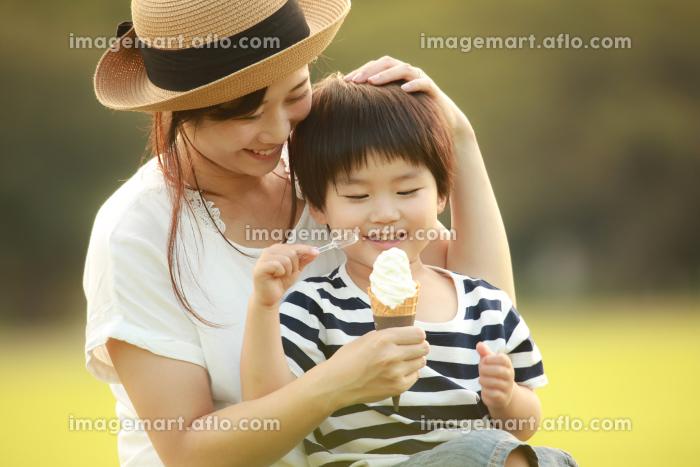ソフトクリームを食べる親子の販売画像