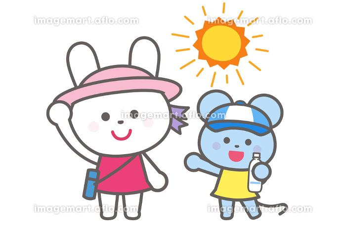 熱中症予防/帽子をかぶろう・水分補給/うさぎとねずみの販売画像