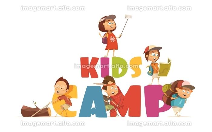 Camping Kids Concept . Camping kids concept with archery and map symbols cartoon vector illustrationの販売画像