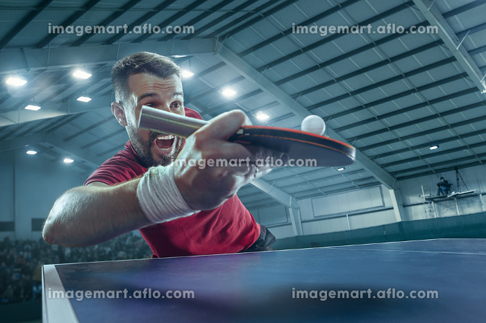 The table tennis player servingの販売画像