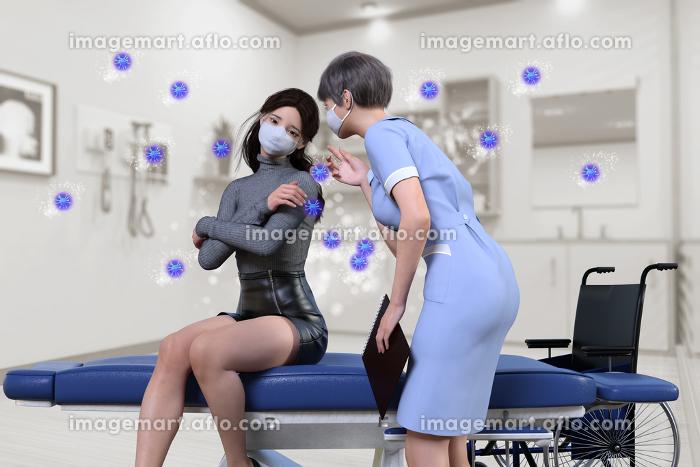 ウイルス感染で体調不良を訴えるマスクをした日本人女性に問診をする看護師
