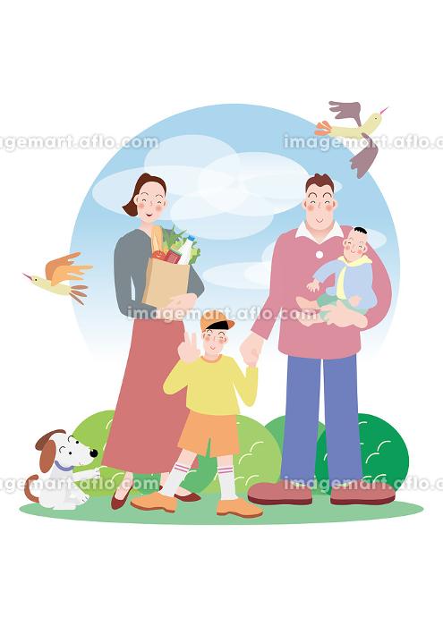 食品の買い物帰りの夫婦と兄弟と犬と鳥の販売画像