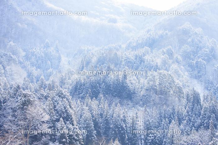 白川郷の雪山の販売画像
