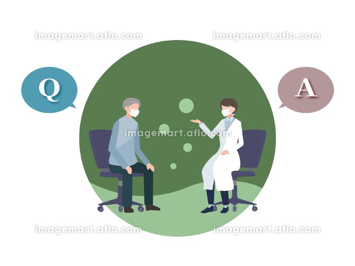 女性医師に診察を受ける高齢男性 質問と答え マスク着用 人物フラットイラスト ベクターの販売画像