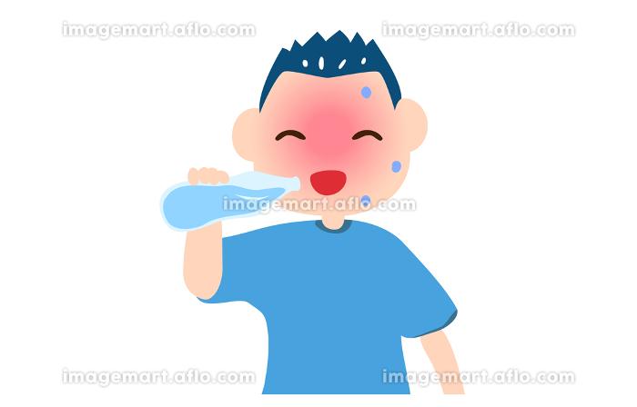 熱中症対策で水を飲む男の子のイラストの販売画像