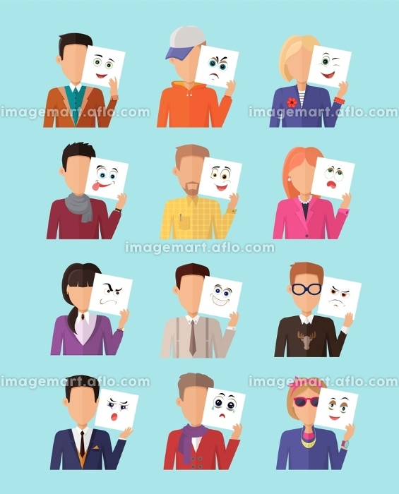 Set of people with expression of emotions. Many people, men and women, boys and girls with a sheet of paper. Funny emoticons expressing emotions anger, happiness, sadness. Vector illustration