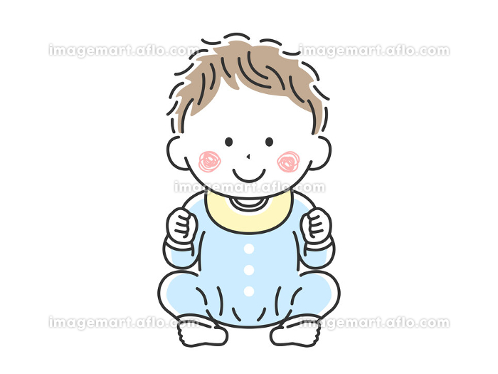 お座りをしているご機嫌な赤ちゃんのイラストの販売画像