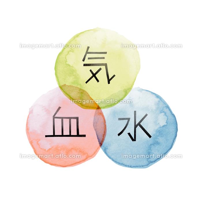東洋医学 漢方 証 気 血 水 相関図 水彩 イラスト
