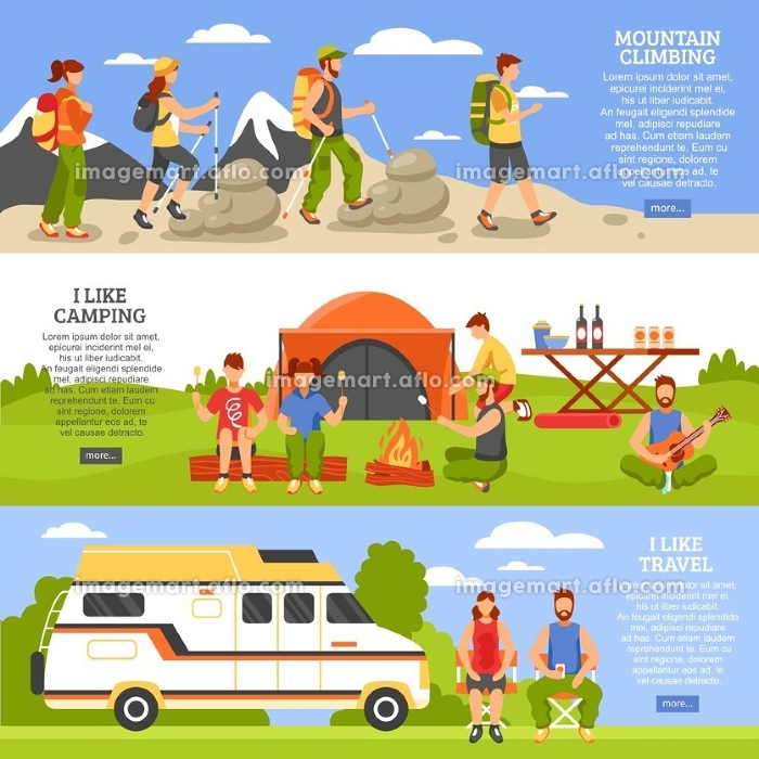 Outdoor Climbing Banners Set. Set of three camping and hiking horizontal banners with outdoor climbing people compositions read more button vector illustrationの販売画像