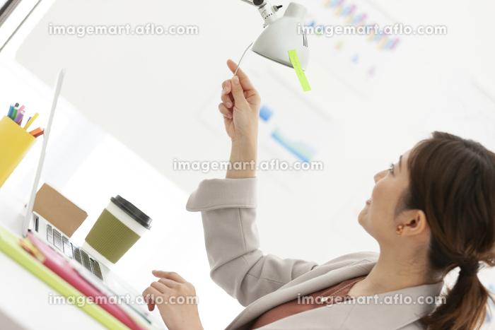 ライトの角度を調整するビジネスウーマンの販売画像