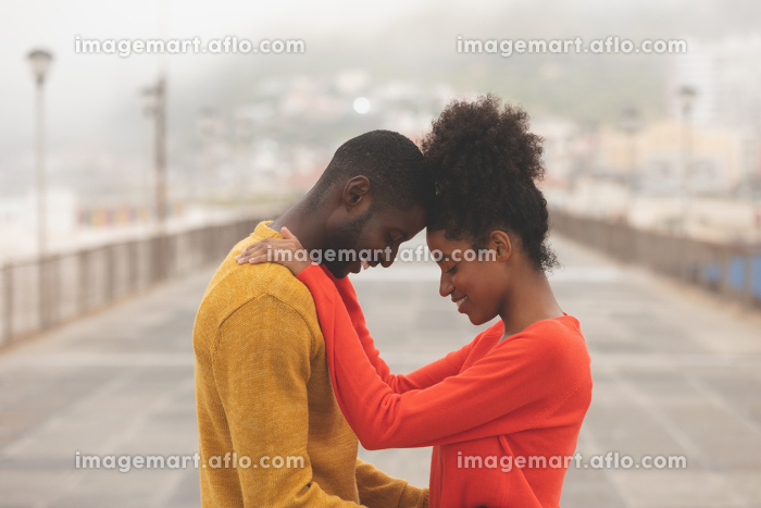 Side view of Multi-ethnic couple standing on pavement near beach on a sunny dayの販売画像
