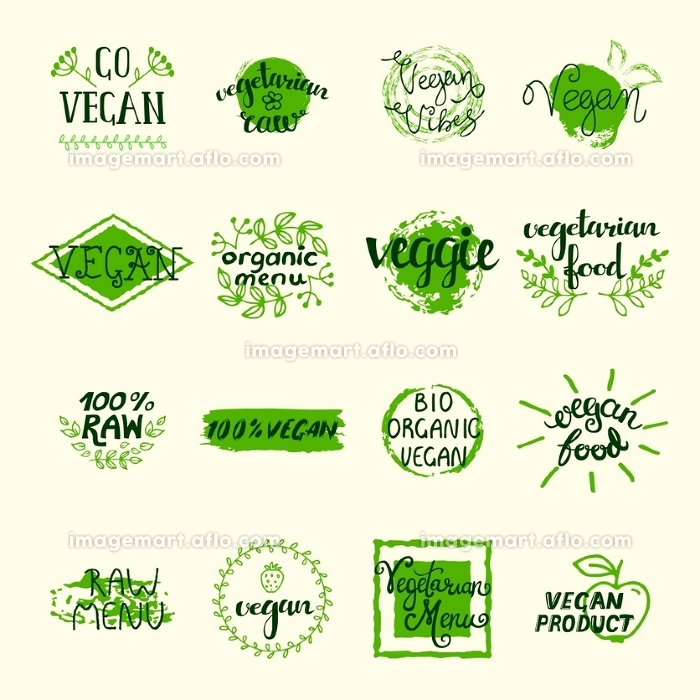 Vegan Elements Set. Vegan elements set of green labels logos and signs in retro style isolated vector illustration