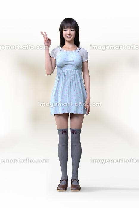 フェミニンなワンピースを着てニーハイを履いた若い女の子がピースサインで正面を向いているの販売画像