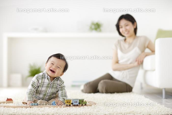 リビングで遊ぶ赤ちゃんと見守るお母さんの販売画像